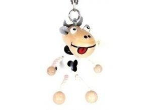 Figurka přívěšek ze dřeva - Kráva bílá