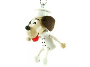 Figurka přívěšek ze dřeva - Pes kuchař