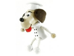 Figurka magnetka ze dřeva - Pes kuchař