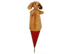 Velký kornoutový maňásek Pes - hračka z textilu