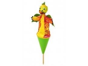 Střední kornoutový maňásek Drak zelený - hračka z textilu