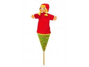 Střední kornoutový maňásek Karkulka - hračka z textilu