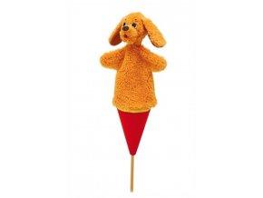 Střední kornoutový maňásek Pes ušatý - hračka z textilu
