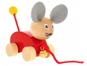Tahací hračka ze dřeva Myška s rolničkou Monica