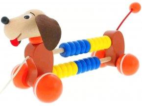 Tahací hračka ze dřeva Počítadlo Pes Cory