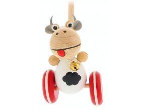 Strkadlo Kráva hračka ze dřeva Paula
