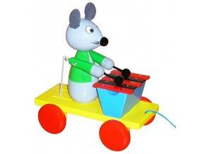 Tahací Myška s xylofonem hračka ze dřeva - barevná