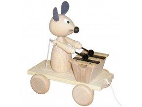Tahací Myška s xylofonem hračka ze dřeva - natur