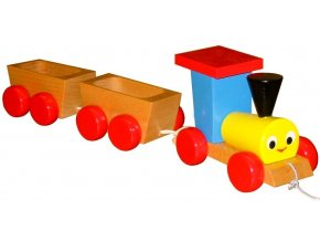 Vláček 2 vagony hračka ze dřava