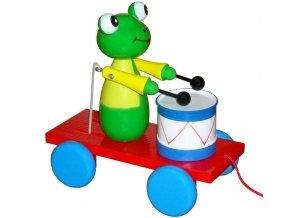 Tahací Žabka s bubnem hračka ze dřeva - barevná