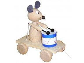 Tahací Myška s bubnem hračka ze dřeva - natur