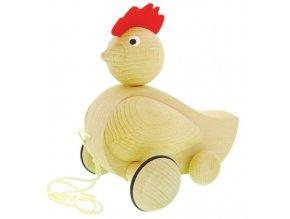 Tahací Slepice hračka ze dřeva - natur