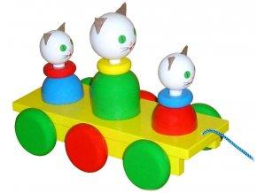 Tahací tři Kočičky hračka ze dřeva - barevné