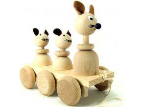 Tahací tři Myšky hračka ze dřeva - natur