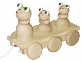 Tahací tři Žabky hračka ze dřeva - natur