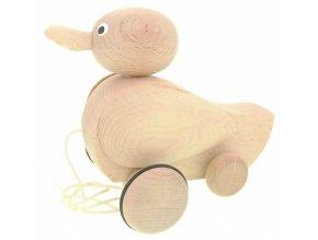 Tahací Kačer hračka ze dřeva - natur