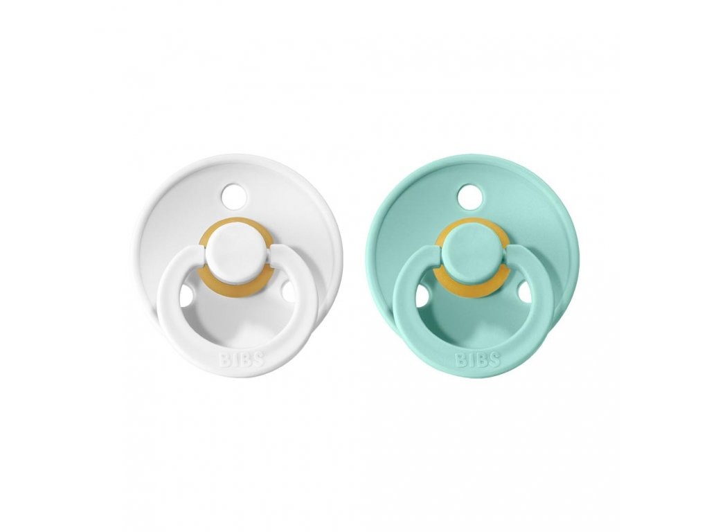 BIBS Colour dudlíky 2ks - White/Mint