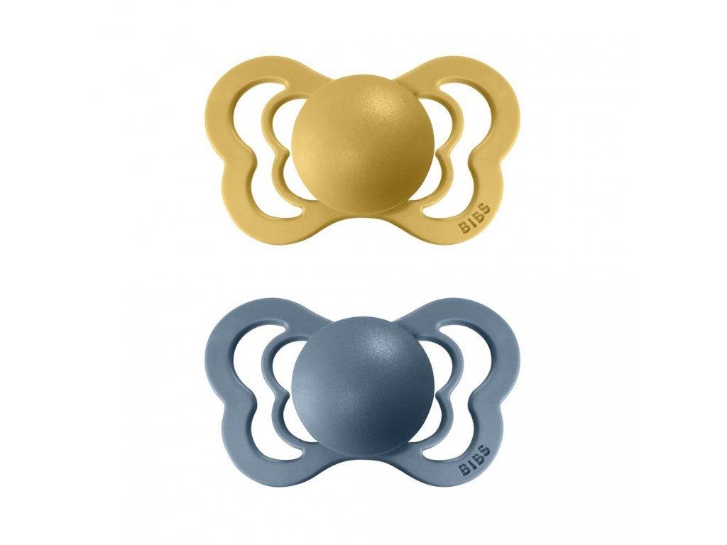 BIBS Couture dudlíky z přírodního kaučuku 2ks Mustard/Petrol