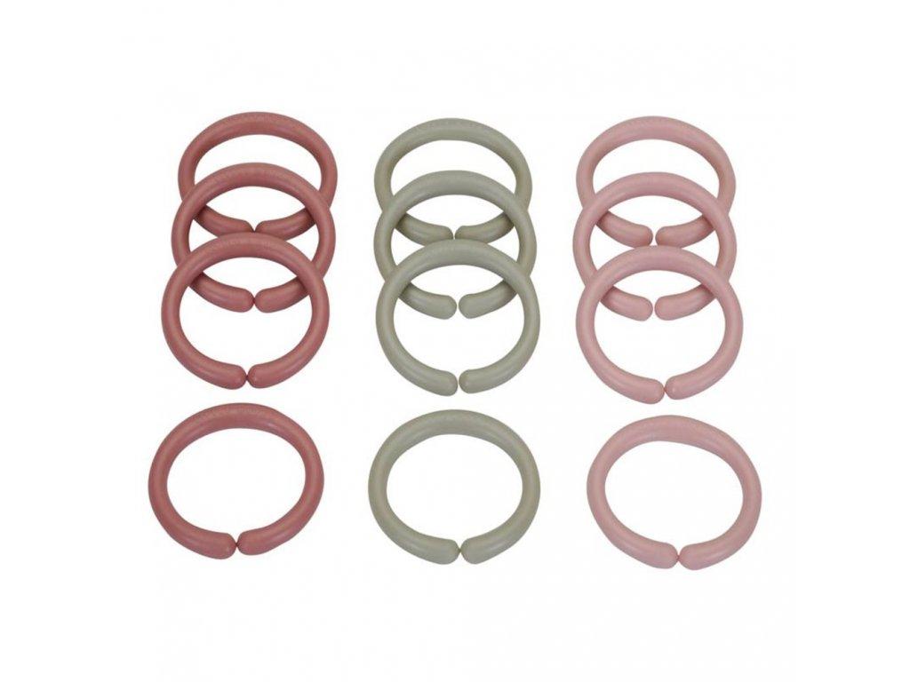 LITTLE DUTCH Spojovací kroužky řetěz PINK 12ks