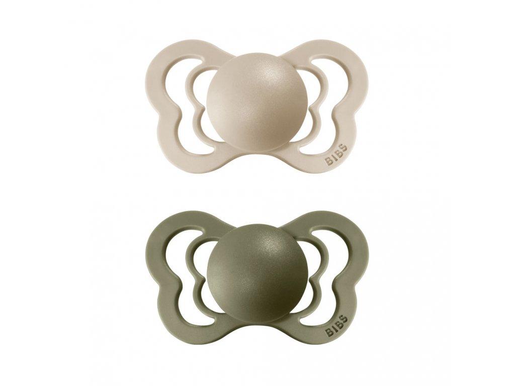 BIBS Couture dudlíky z přírodního kaučuku 2ks Vanilla/Olive