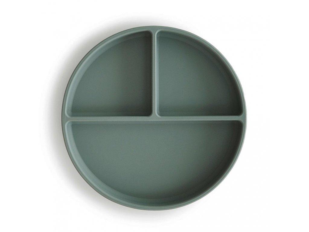 Mushie silikonový talíř s přísavkou - Cambridge blue