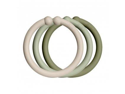 BIBS Loops kroužky 12ks (vanilla-sage-olive)