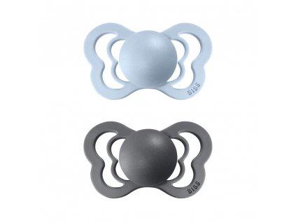 BIBS Couture dudlíky z přírodního kaučuku 2ks Iron/Baby blue