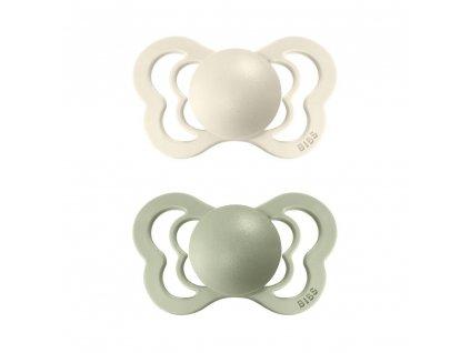 BIBS Couture dudlíky z přírodního kaučuku 2ks Ivory/Sage