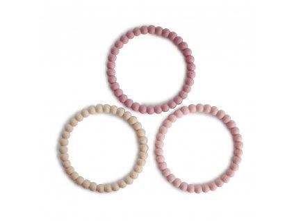 Mushie náramkové kousátko ze silikonu PEARL - Linen/Peony/Pale Pink