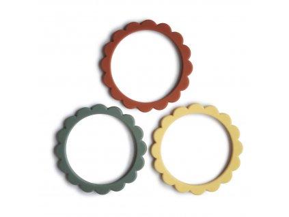 Mushie náramkové kousátko ze silikonu FLOWER - Sunshine/Dried Thyme/Clay
