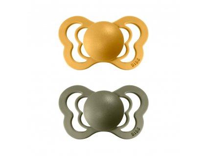 BIBS Couture dudlíky z přírodního kaučuku 2ks Honey bee/Olive