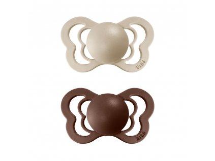 BIBS Couture dudlíky z přírodního kaučuku 2ks Vanilla/Mocha
