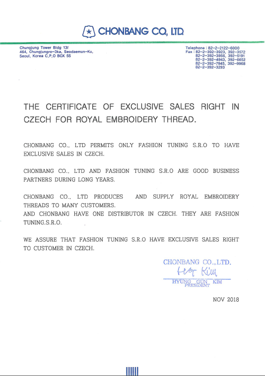 THE CERTIFICATE OF EXCLUSIVE SALES RIGHT_FASHION TUNING S.R.O