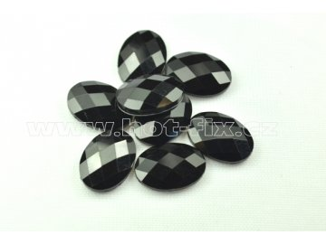 tvarové epoxy hot fix kameny na textil elipsa 13x18mm barva černá