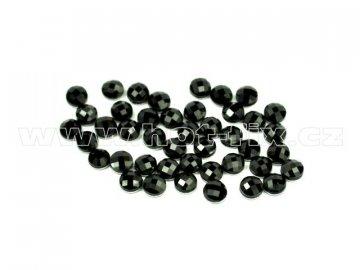 tvarové epoxy hot fix kameny na textil kulaté 4mm barva černá