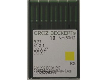 jehla B27  80 RG Groz-Beckert, balení 10ks nebo 100ks