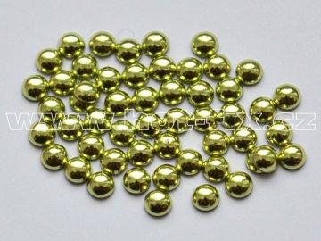 nažehlovací hot-fix perly na textil barva SA306 peridot, velikost 2, 3, 4 a 5mm, balení 100ks
