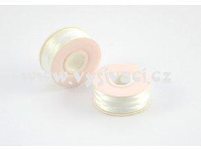 předvinuté spodní cívky pro domácí vyšívací stroje SPOLYPRE DVS 100% polyester, síla 75D/2, barva bílá, balení 10 nebo 144ks