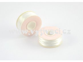 předvinuté spodní cívky pro vyšívací stroje SPOLYPRE-DVS 100% polyester, síla 75D/2, barva bílá, balení 10 nebo 144ks