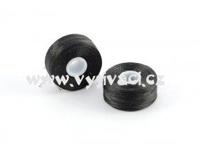 předvinuté spodní cívky SPOLYPRE 100% polyester, síla 75D/2, barva černá, balení 10ks nebo 144ks