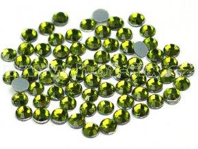 hot-fix skleněné nažehlovací kameny na textil barva 134 Olivín zelená, velikost SS6 až SS16