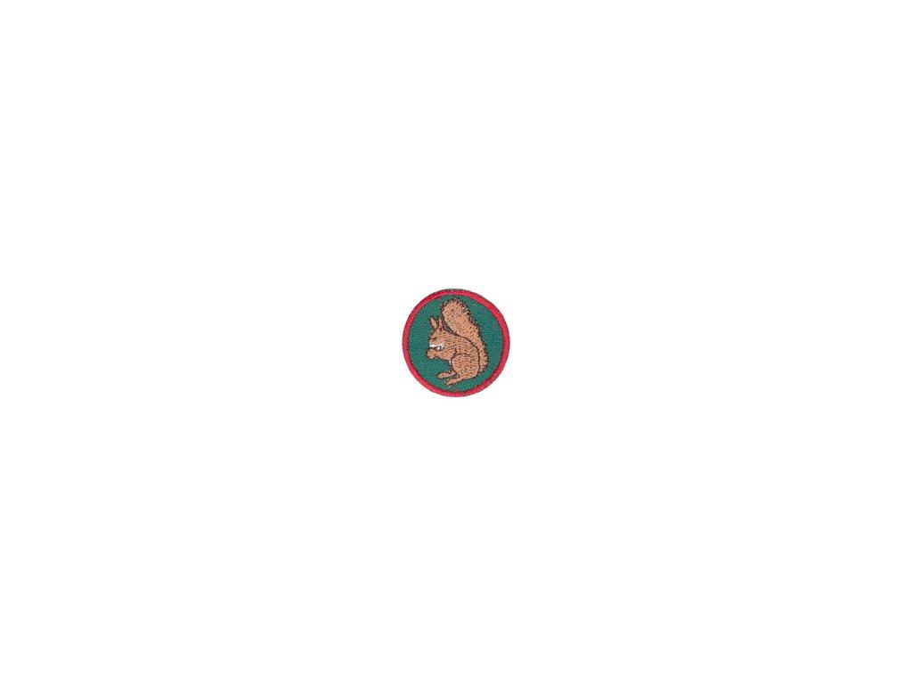 Družinová nášivka - Veverička (zelený podklad)