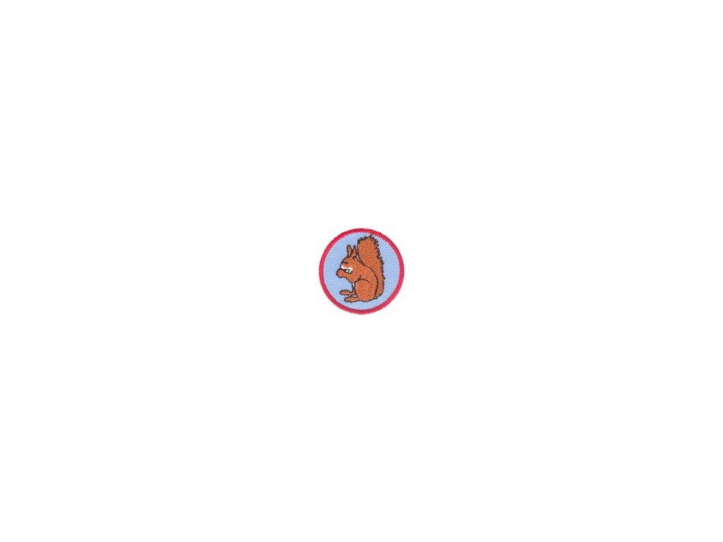 Družinová nášivka - Veverička (modrý podklad)