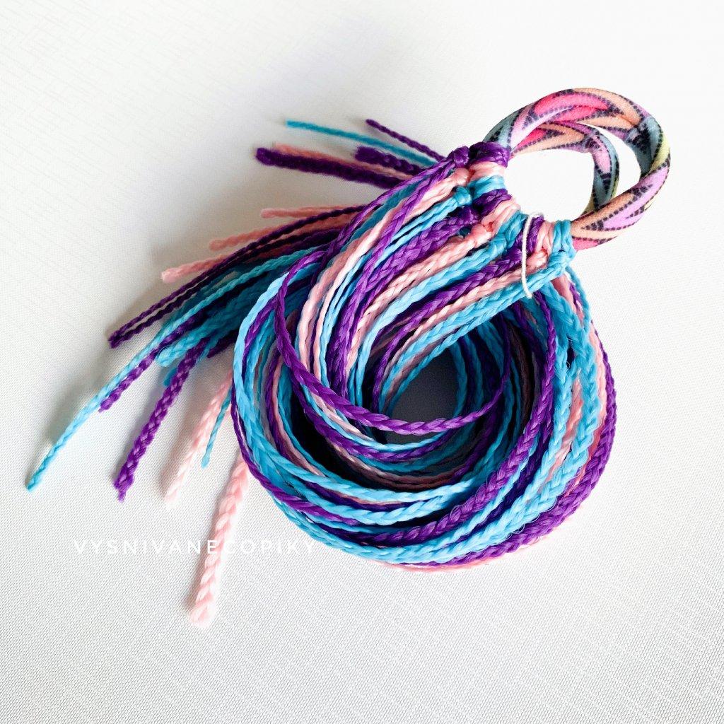 Pár zizi copíkových gumičiek - Tmavofialová-modro-ružová/DarkPurple-Blue-Pink