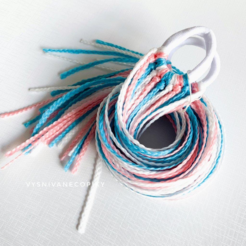 Pár zizi copíkových gumičiek - Modro-ružovo-biela/Blue-Pink-White