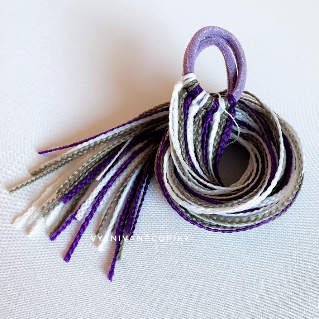 Pár zizi copíkových gumičiek - Fialovo-blond-biela/Purple-Blond-White