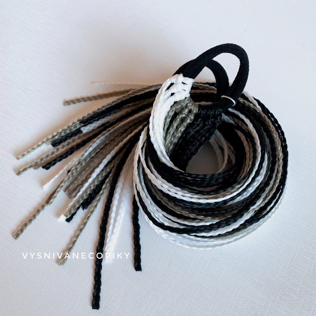 Pár zizi copíkových gumičiek - Čierna/Tmavá/Biela -Black/White