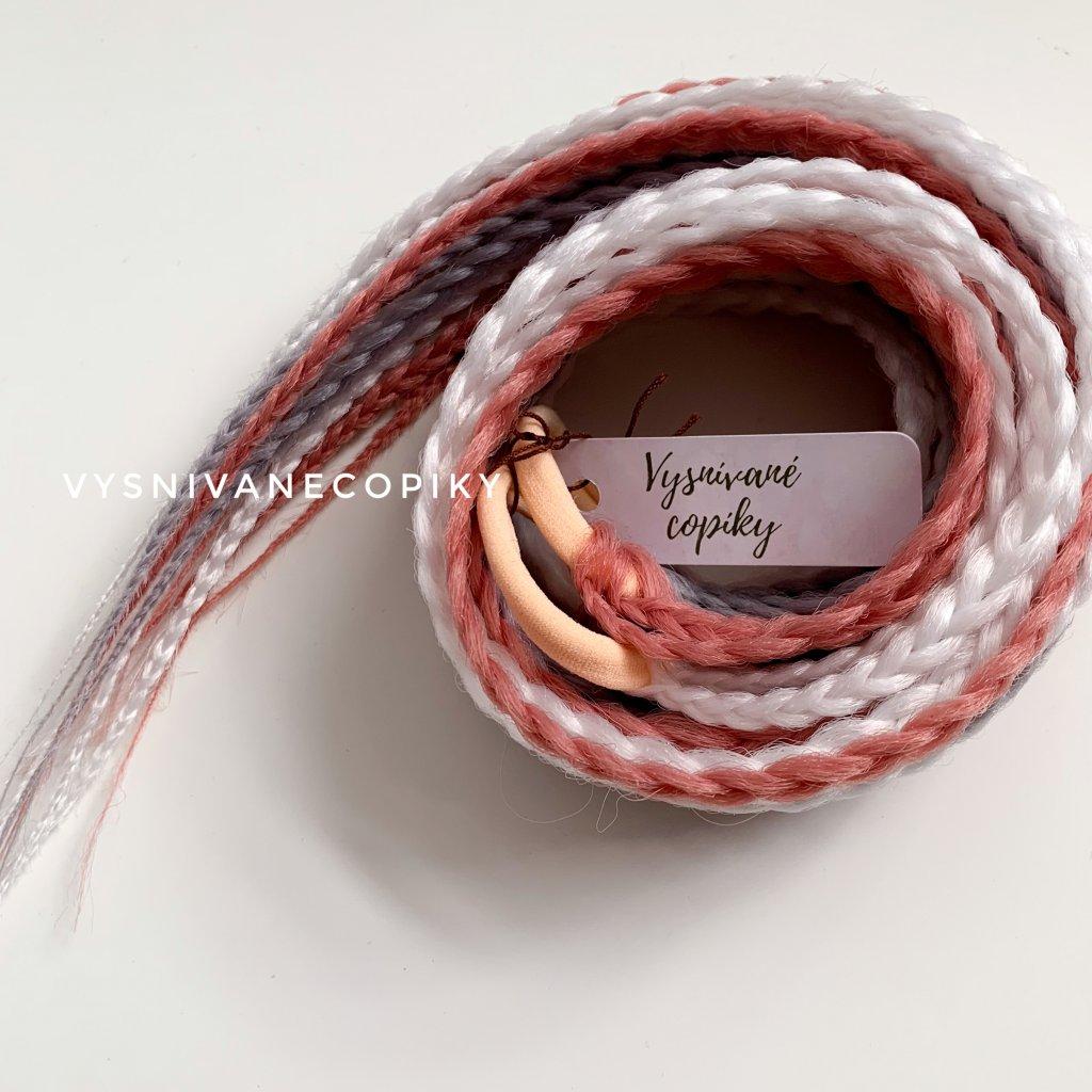 Pár copíkových gumičiek - ružová/biela/šivá - Pink/White/Grey