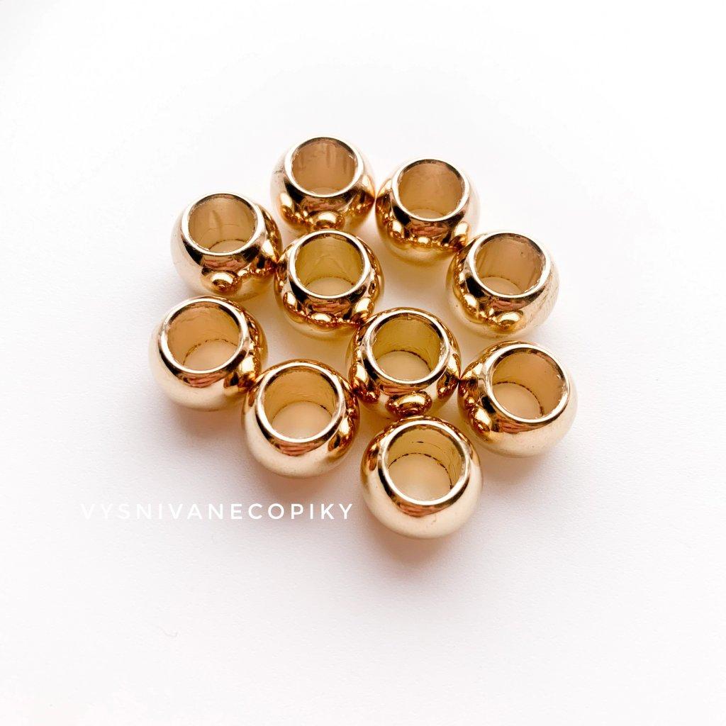 Korálky zlaté - 12x9mm - 10ks