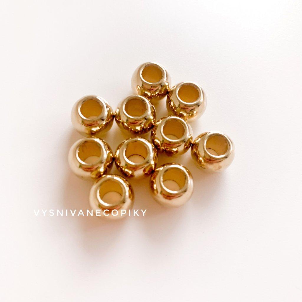 Korálky zlaté - 10x8 mm